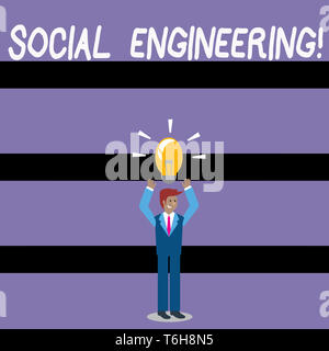 Writing note showing Social Engineering. Business concept for attack photo that relies heavily on huanalysis interaction Businessman Raising Arms Upwa - Stock Photo