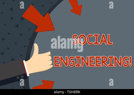 Text sign showing Social Engineering. Business photo text attack photo that relies heavily on huanalysis interaction Hand Gesturing Thumbs Up and Hold - Stock Photo