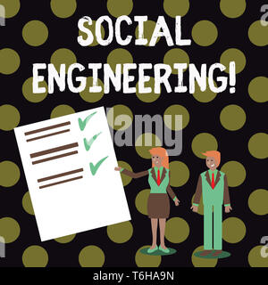 Text sign showing Social Engineering. Business photo showcasing attack photo that relies heavily on huanalysis interaction Man and Woman in Business S - Stock Photo