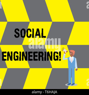 Text sign showing Social Engineering. Business photo text attack photo that relies heavily on huanalysis interaction Businessman Looking Up, Holding a - Stock Photo