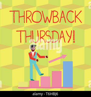 Handwriting text Throwback Thursday. Conceptual photo wistful revisiting of the past used in social media Smiling Businessman Climbing Colorful Bar Ch - Stock Photo