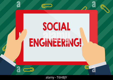 Word writing text Social Engineering. Business photo showcasing attack photo that relies heavily on huanalysis interaction Businessman Hand Holding, P - Stock Photo