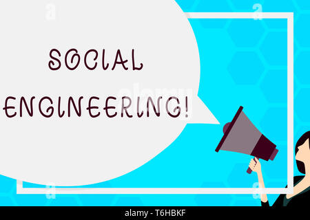 Text sign showing Social Engineering. Business photo text attack photo that relies heavily on huanalysis interaction Huge Blank Speech Bubble Round Sh - Stock Photo