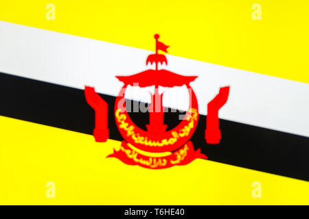 abstract blurred background color of the national flag of Brunei, Patriotic background - Stock Photo