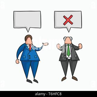 Hand-drawn vector illustration businessman worker speaks with boss and boss rejects. Colored and black outlines. - Stock Photo