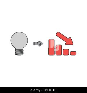 Vector icon concept of grey light bulb idea with red sales bar chart moving down. Black outlines and colored. - Stock Photo
