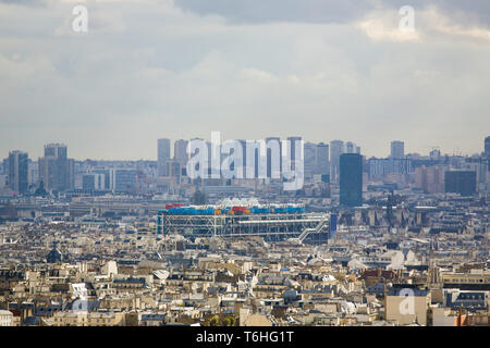 Aerial view on the center of Paris as seen from Montmartre, with the Centre Pompidou in the center - Stock Photo