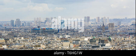 Aerial view on the center of Paris as seen from Montmartre, with the Centre Pompidou and the Notre Dame - Stock Photo