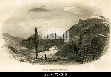 Asien, Ägypten, Sinai Halbinsel, Berg Sinai, Sinai, Kupferstich von Adam nach Monvoisin bei T. Blanchard, 1846 . /  Asia, Egypt, Sinai Peninsula, Moun - Stock Photo