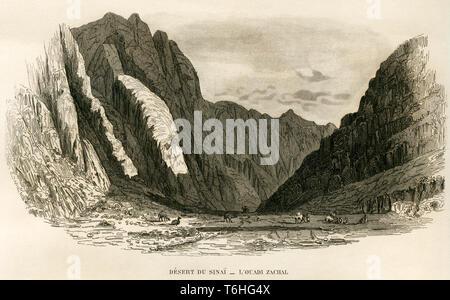 Asien, Ägypten, Sinai Halbinsel, Wüste Sinai, Kupferstich von Adam nach Monvoisin bei T. Blanchard, 1846 . /  Asia, Egypt, Sinai Peninsula, copperplat - Stock Photo