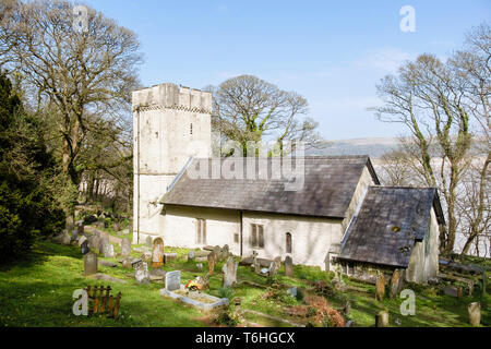 Small rural 14th century Norman church of St Illtyd with battlemented tower on Gower Peninsula, Oxwich, West Glamorgan, South Wales, UK, Britain - Stock Photo