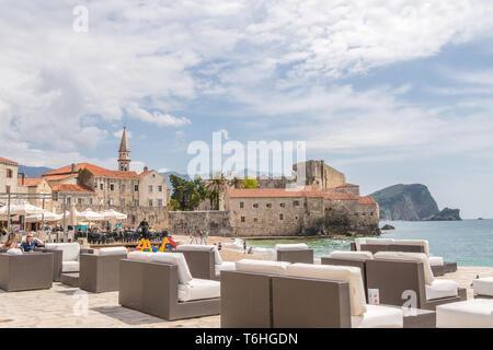 Beachside cafe in Budva - Stock Photo