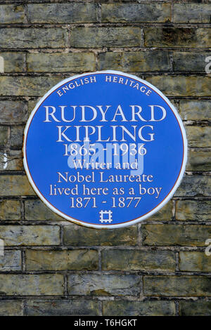 English Heritage blue plaque to Rudyard Kipling in Portsmouth England. - Stock Photo