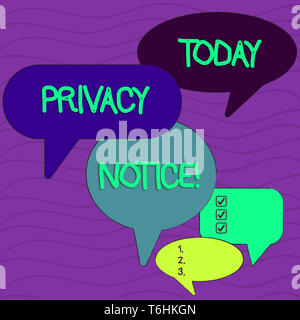 Conceptual hand writing showing Privacy Notice. Concept meaning fulfils a legal requirement to protect a customer or client Speech Bubble in Different - Stock Photo