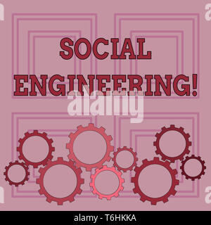 Handwriting text writing Social Engineering. Conceptual photo attack photo that relies heavily on huanalysis interaction Colorful Cog Wheel Gear Engag - Stock Photo