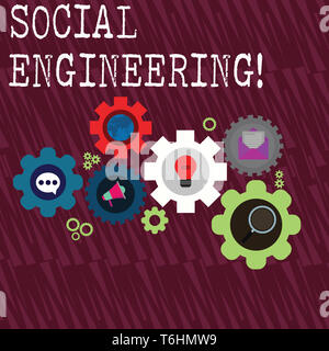 Word writing text Social Engineering. Business photo showcasing attack photo that relies heavily on huanalysis interaction Set of Global Online Social - Stock Photo