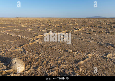 The salt plains of Asale Lake in the Danakil Depression in Ethiopia, Africa - Stock Photo