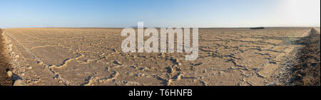 The salt plans of Asale Lake in the Danakil Depression in Ethiopia, Africa - Stock Photo