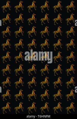 Pattern background made from figure of a brassy horse in stand up position over the black background - Image - Stock Photo