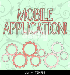 Writing note showing Mobile Application. Business concept for application software designed to run on a mobile device Colorful Cog Wheel Gear Engaging - Stock Photo