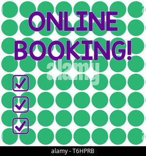 Handwriting text writing Online Booking. Conceptual photo tool used to analysisage business travel through internet Seamless Green Circles Arranged in - Stock Photo