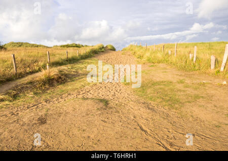 Utah Beach, France - August 16, 2018: A way at the Utah Beach, Sainte-Marie-du-Mont, Manche, Normandy, France - Stock Photo