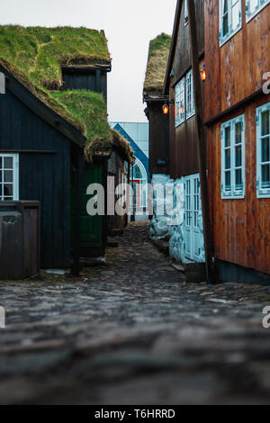 Grass Covered Roofs On Old Town Buildings Torshavn Faroe