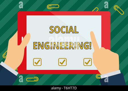 Word writing text Social Engineering. Business photo showcasing attack photo that relies heavily on huanalysis interaction Hand Holding Pointing Touch - Stock Photo