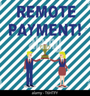 Handwriting text writing Remote Payment. Conceptual photo payment transaction initiated via internet or from a device Man and Woman in Business Suit H - Stock Photo