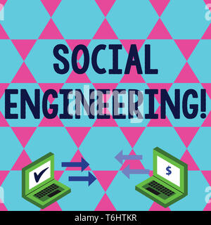 Word writing text Social Engineering. Business photo showcasing attack photo that relies heavily on huanalysis interaction Exchange Arrow Icons Betwee - Stock Photo