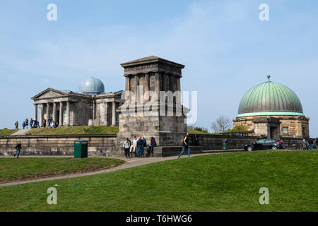 City Observatory, now the Collective Arts Centre, Playfair Monument and City Dome on Calton Hill, Edinburgh, Scotland, UK - Stock Photo