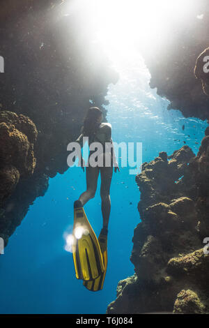 An asian freediver in famous Bells, Egypt - Stock Photo