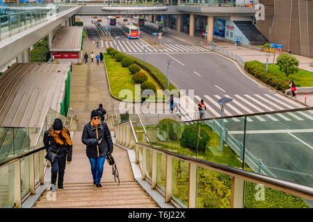 SHANGHAI, CHINA, DECEMBER - 2018 - Urban street day scene at pudong district in shanghai city, china - Stock Photo