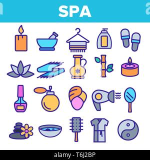 Spa Beauty Service Linear Vector Icons Set. Spa Treatments Thin Line Contour Symbols. Asian Therapy, Alternative Medicine, Relaxation, Massage, Aromat - Stock Photo