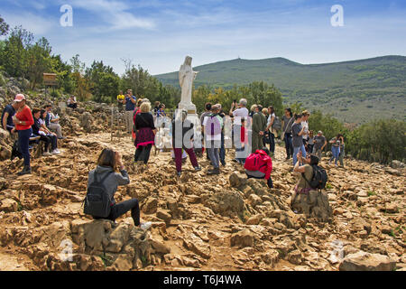 MEDJUGORJE, BOSNIA AND HERZEGOVINA - APRIL 21: Apparition hill Podbrdo of the Virgin Mary on April 21, 2019 in Medjugorje, Bosnia and Herzegovina. - Stock Photo