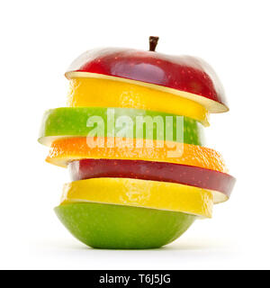 Mixed fruit slices piled up and isolated on white background. - Stock Photo