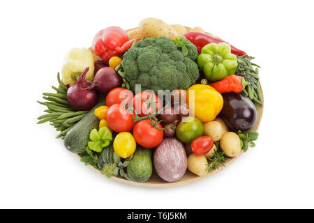 Mixed and assorted different vegetables isolated on white background - Stock Photo