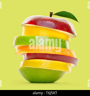 Mixed fruit slices piled up and isolated on green background. - Stock Photo