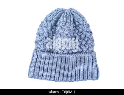 Blue knitted winter womens hat on white background - Stock Photo