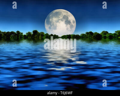 Surreal painting. Full moon over water. - Stock Photo