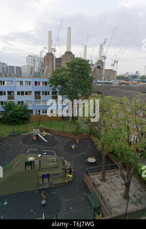 A children's playground is pictured in Seldon House estate near Battersea Power Station on September 20, 2017. - Stock Photo