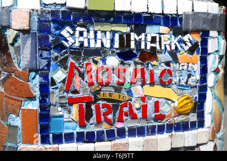 New York City, USA - 12th July 2014 : Picture of a beautiful with the inscription 'Saint Marks Mosaic Trail' sign located in the East Village in Manha - Stock Photo