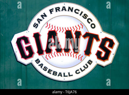 San Francisco, California, USA - 22nd May 2015 : Picture of a San Francisco Giants Baseball Club logo placard - Stock Photo