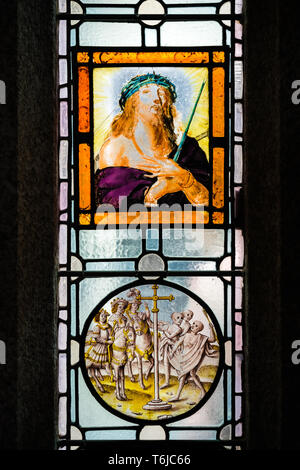 Stained glass church window depicting Jesus - Stock Photo