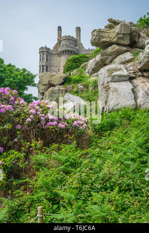 St Michaels Mount island fortress and gardens - Stock Photo