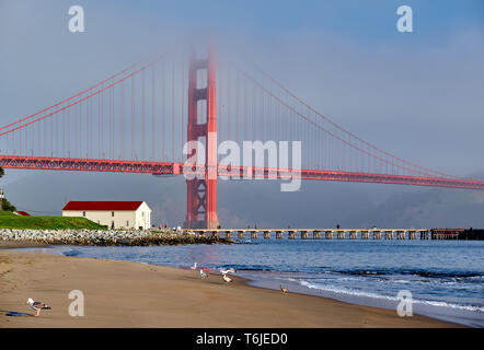Golden Gate Bridge beach view, San Francisco, California - Stock Photo