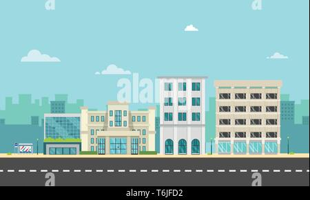 City street and company with bus stop in flat style.Business buildings in urban.Buildings on main street.Vector illustration.Modern cityscape design.U - Stock Photo