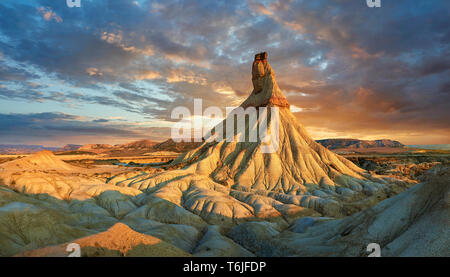 Castildeterra rock formation in the Bardenas Blanca area of the Bardenas Riales Natural Park, Navarre, Spain - Stock Photo