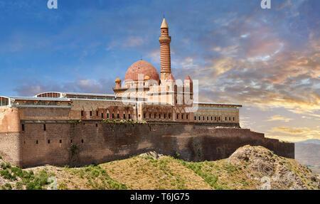 Exterior walls with Minarete of the Mosque of the 18th Century Ottoman architecture of the Ishak Pasha Palace (Turkish: İshak Paşa Sarayı) ,  Agrı pro