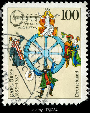 Postage stamp from the Federal Republic of Germany in the Birth Centenary of Carl Orff series issued in 1995 - Stock Photo